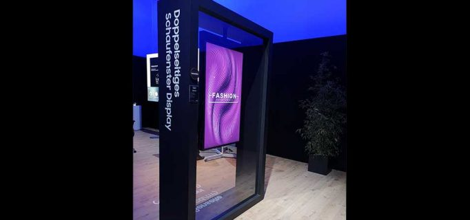 Schaufenster-Display mit doppelseitigem Bildschirm