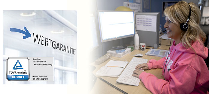 Wertgarantie Kundenzufriedenheit von TÜV Rheinland bestätigt. Foto: Wertgarantie