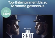 Samsung EntertainPaket Plakat Das Boot mit Sky Ticket waipu.tv und HD+