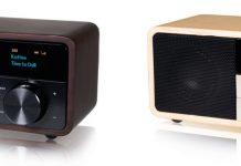 Zwei Kathrein-Radios DAB+ 1 mini mit Holzgehäuse