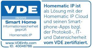 VDE Siegel für Homematic IP Smart Home