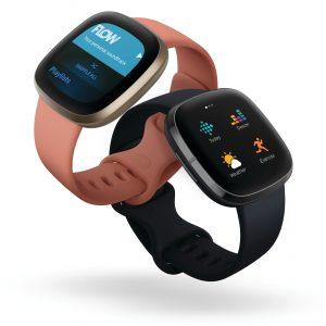 Fitbit Versa 3 - Apricotfarbenes Armband mit schwarzem verwoben
