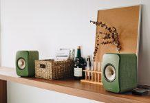 KEF LSX Lautsprecher in Grün auf Wandregal