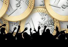 Leute jubeln und konsumieren: schwarze Schatten vor Euro-Münzen