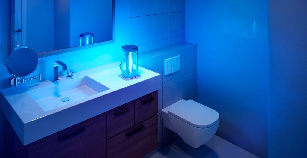 Signify UV-V-Tischleuchte im Bad. Foto: Signify