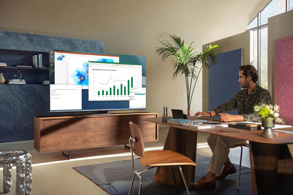 Samsung Neo QLED Home Office und Smart TV in einem. Foto: Samsung