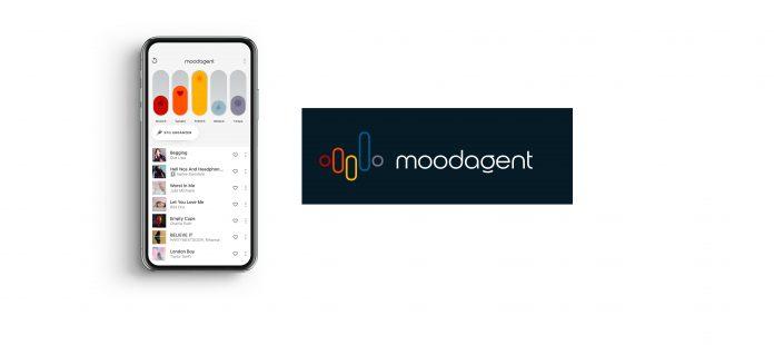Moodagent Smartphone und Logo + Type. Foto: Moodagent