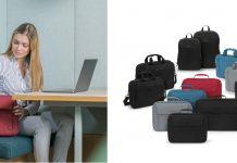 Dicota-Taschen Eco Base aus recycelten PET-Flaschen, Taschensortiment, Frau sitzt auf Bank mit ihrer Notebook-Tasche