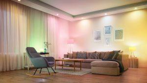 Smarte WiZ-Beleuchtung im Wohnzimmer