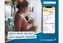 Homematic IP arbeitet mit Home Connect Plus App - Frau steuert per App auf dem Smartphone ihr Smart Home