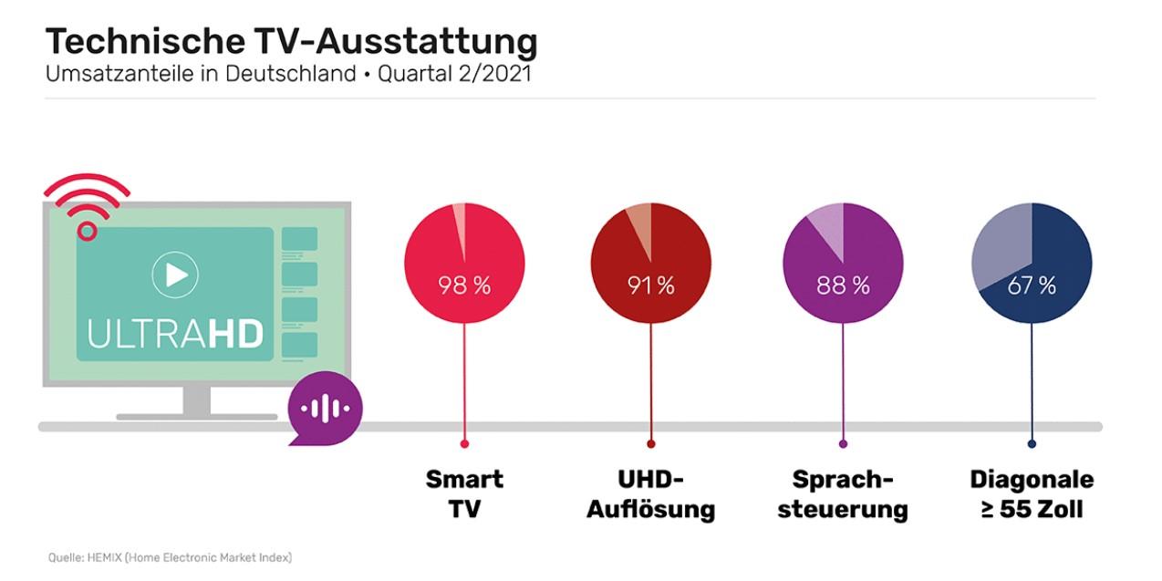 Technische Ausstattung bei TV-Geräten - Grafik der gfu