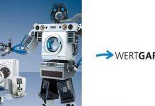 Wertgarantie Elektroschrott Roboter und Logo