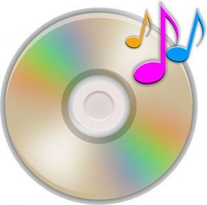 CD mit Musiknoten