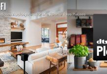DTS Play-Fi mit Wohnzimmer und Küche im Hintergrund